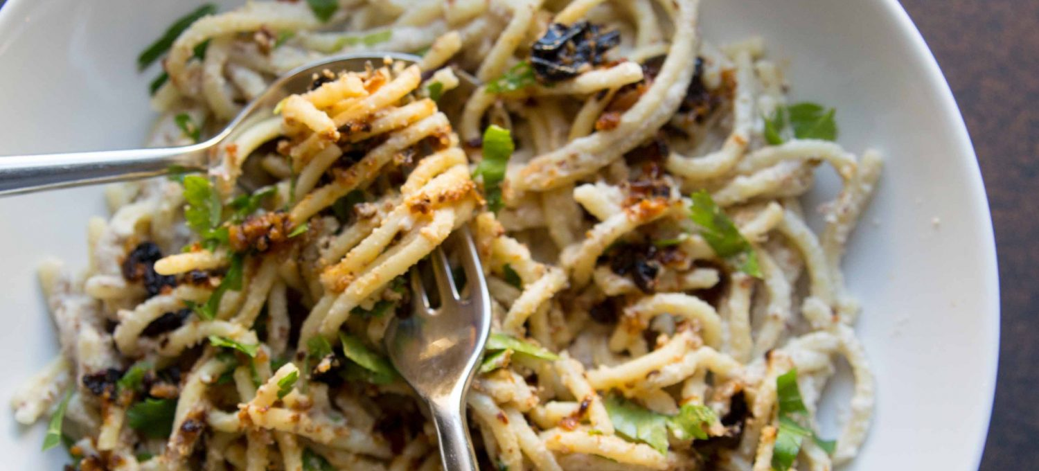 This is the meatless pasta you never knew you needed until now. You will want to scoop up the fiery cauliflower condiment on all the things.